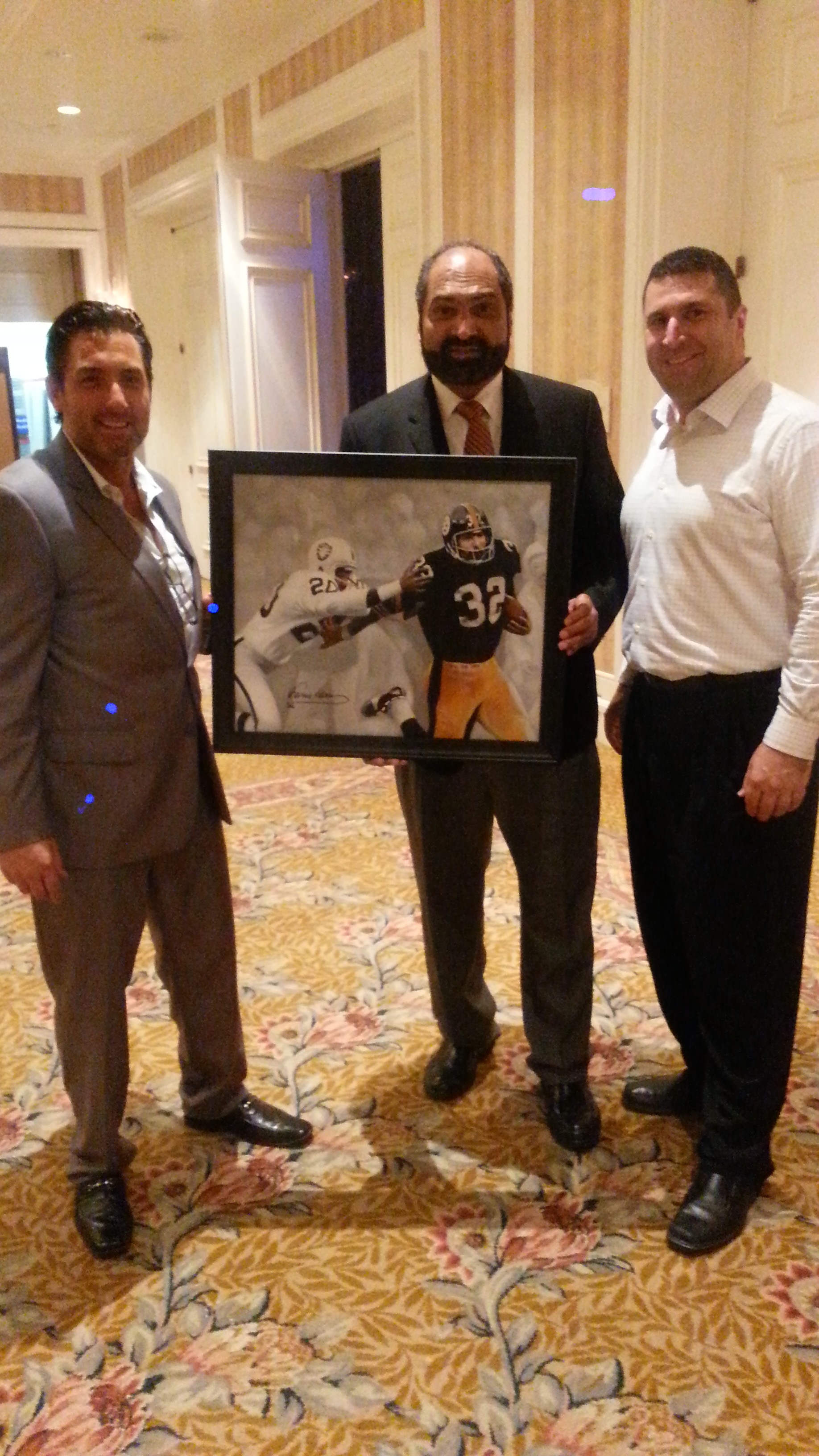 NFL Celebrity Franco Harris (center) ,and (right) Todd Krasovetz