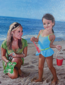 "Original Child Portrait on Canvas by Todd Krasovetz . Tilted ""Mother and Daughter at the Beach"" by Artist Todd Krasovetz."